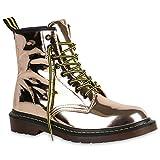 Stiefelparadies Damen Stiefeletten Lack Worker Boots Schnürer Grunge Punk Leder-Optik Schnürstiefeletten Camouflage Schuhe 140354 Rose Gold 40 Flandell
