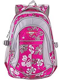MAYZERO Waterproof School Bag Durable Travel Camping Backpack For Boys And Girls (Rose 1)