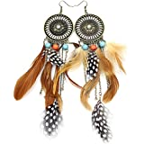 Q&Q Fashion Western Cowgirl Vintage Big Dream Catcher Feather Coral Turquoise Bead Navajo Zuni Style Earrings