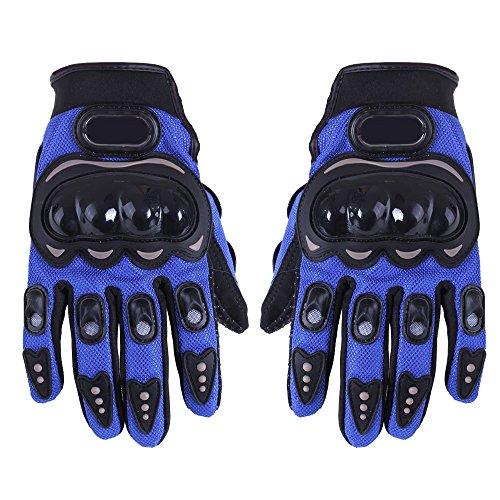 1 Paar Motorradhandschuhe Motorrad Handschuhe Racing Gloves Faser PU Blau XL