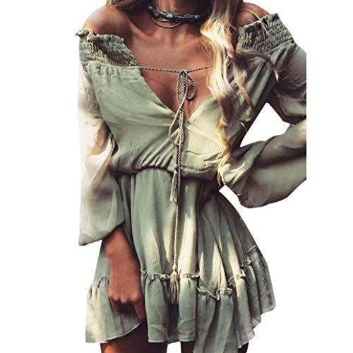Qiusa Vestido de Verano de Las Mujeres, Caliente! Vestidos de Manga Larga con Cordones de Gasa Casual Bohemio para Mujer Hombro frío Slash Cuello con Volantes Dobladillo Vestido Suelto Tops (XL, Verd