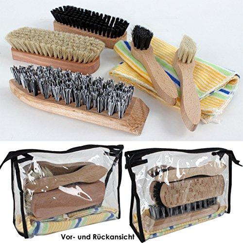 Dies&Das Schuhputz-Set, 7-teilig: 2 Glanz-, 2 Auftrags-, 1 Schmutzbürste, 1 Poliertuch, Klarsichttasche