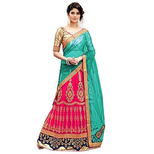 Siddeshwary Fab Womens Net Pink Multicolor Lehenga Choli With Blouse Fabric