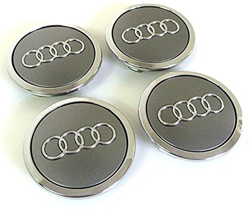 8t0601170Radblenden, 4Deckel für Audi-A3A4A5A6A7A8S4S5S6S8RS4Q3Q5Q7TT A4L A6L S Line Quattro zwischen weitere Modelle, 69mm, DESIGN MIT Audi-Logo, verchromt, Grau silberfarben (S8 Modell Audi)
