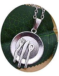GYKMDF Plateado Plato Colgante Cuchara Tenedor Cuchara Collar Cuchillo Tenedor Joyería Cuchara Cubertería Utensilios ...