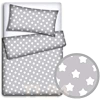 Baby Bedding Set Pillowcase + Duvet Cover 2PC to FIT Baby COT (Big White Stars on Grey Background)