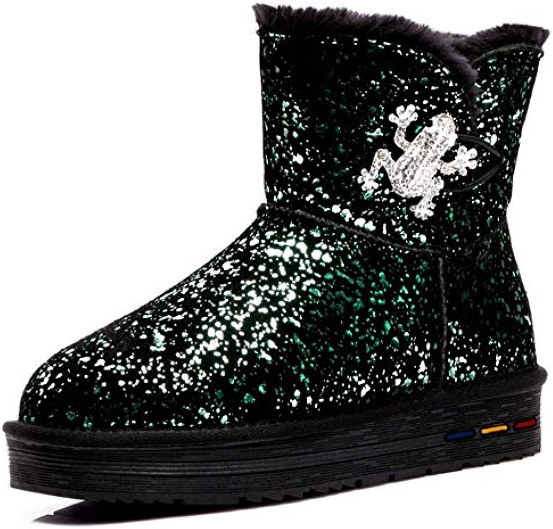 Oudan Stivali da Neve da Donna Sparkle stivali Stivali Invernali Glitterati Foderati (Coloreee   verde, Dimensione... | Prestazioni Superiori  | Uomini/Donna Scarpa