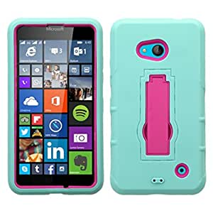 MyBat Asmyna Symbiosis Stand Protector Cover for Microsoft Lumia 640 - Retail Packaging - Hot Pink/Sky Blue