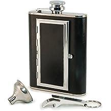 Petaca Perfect Pregame - Petaca de Licor de Cuero y Acero Inoxidable con Compartimento Pitillera para Cigarrillos - Para Hombre y Mujer - Petaca Para Licor y Tabaco