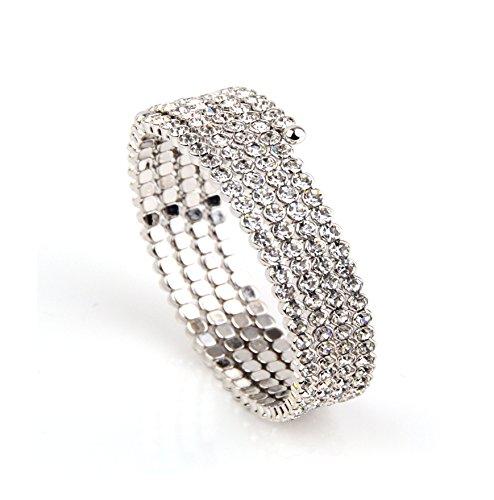 Weiß Gold vier Ringe dehnbar Armband mit echtem tschechischen Kristall Geschenk-Box bis 20,3cm