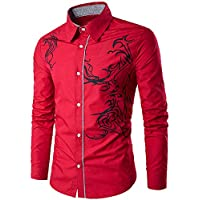 Yvelands Camisas para Hombre Collar, Camisa de Manga Larga con Estampado de dragón para Hombre