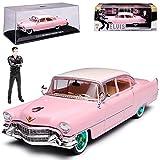alles-meine GmbH Cadillac Fleetwood Serie 60 Limousine Pink mit Figur Elvis Presley 1955 mit Gruenen Felgen 1/43 Greenlight Modell Auto mit individiuellem Wunschkennzeichen