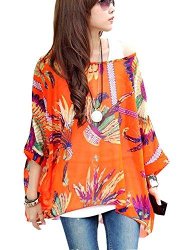 OKSakady Femmes perd Le t-Shirt en Mousseline de Soie Manches Chauve-Souris Chemisier Taille Plus Tuniqu