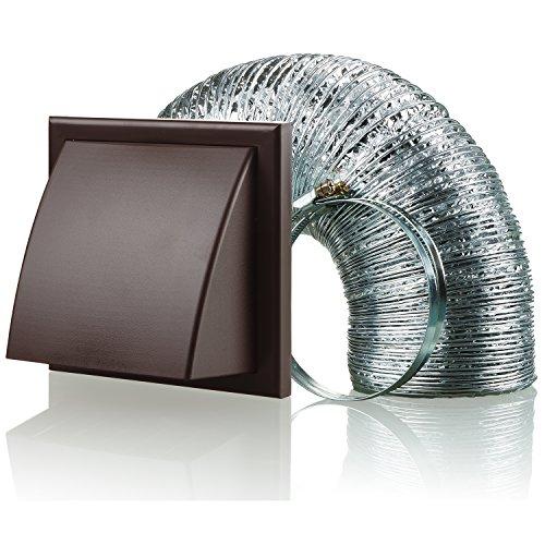 Aluminium-vent Pipe (Blauberg UK bb-chk-125–3-vkbr 125mm Dunstabzugshaube Duct Wandabzug Vent Kit Fan Extractor–Braun)
