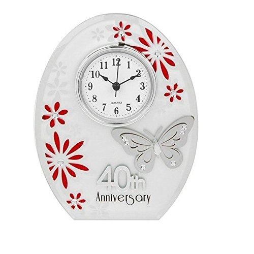 Nuovo argento white & ruby 40 ° anniversario farfalla ovale clock matrimonio rubino ruby wedding gift