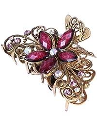 Frcolor Pinza de pelo garra Rhinestone Crystal Vintage pelo grande abrazadera boda nupcial mandíbula Hairgrip (púrpura)
