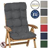 Beautissu Flair HL - Cojín para sillas de balcón o Asiento Exterior con Respaldo Alto - 120x50x8 cm - Gris Grafito