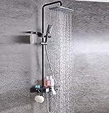 MARCU HOME Sistemas de ducha Conjunto de ducha, accesorios de cobre, moda creativa Montado en la pared 8 pulgadas Top Spray Cascada Grifo de baño, Ducha de mano Agua fría y caliente, manguera negra de