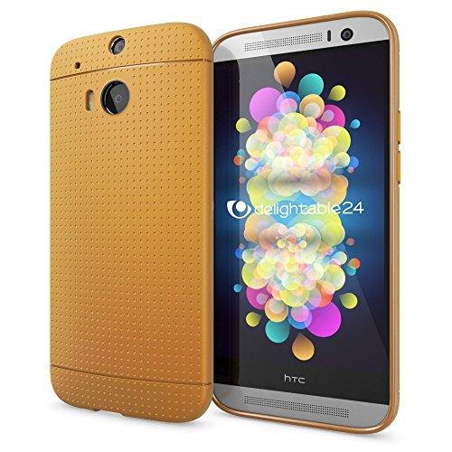 NALIA Handyhülle für HTC One M8 M8S, Ultra-Slim Case Cover, Dünne Punkte Schutzhülle, Etui Handy-Tasche Back-Cover Bumper, TPU Silikon-Hülle für HTC One M8S M8 Smart-Phone - Mesh Champagner Gold