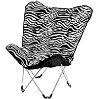Holly Butterfly Folding Fur Chair: Chill With Friends Indoors & Outdoors! Foldable, Portable, Soft & Decorative Stool Ideal Gift for Kids & Teens. For TV Room, Bedroom, Dorm, Balcony, Pool & Garden