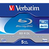 Verbatim 43748 BD-R Dual Layer 6x 50 Go Couche protectrice Hard Coat Pack Jewel Case Blanc/Bleu