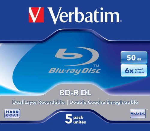 Verbatim BD-R Single Layer 6 -fache Brenngeschwindigkeit, Printable Surface Scratchguard Plus, 5 Stück