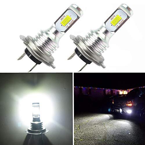 WLJH - 2 lampadine LED per fendinebbia, ad alta luminosità, 1000 lumen, 72 W, H7, 6500 K, luce bianca LED CSP 3570 chip Canbus senza errori, per auto, camion, guida diurna, 12 V 24 V