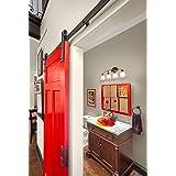 DIYHD 200 cm deslizante de granero hardware antiguo armario raíl para puerta de madera la puerta Juego de fijaciones para Multímetros estilo