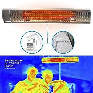 Gardigo – Estufa Lampara para Exterior; Calefactor Eléctrico Radiante por Rayos Infrarrojos para Jardines Terrazas y Zonas Exteriores; Tubos Dorados; Protección IP65; 2000 W