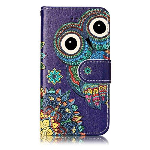 iPod Touch 5 / Touch 6 Hülle, Chreey [Geprägte Muster] Kratzfestes Flip Case Ledertasche Magnet Klapp Etui Handyhülle [Eule] + Brieftasche Kartenfächer Ständer