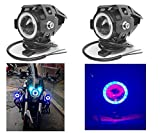 #10: Andride 2PC U7 Mini LED Fog Light Bike Driving DRL Fog Light Spotlight, Blue Angel Eyes Light Ring (Pack of 2) U 7 Led Fog Light Blue Angel Eye