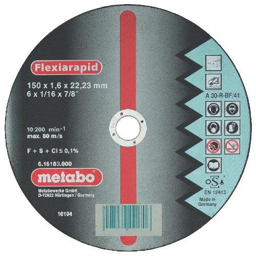 Metabo 616183000 616183000-Disco de tronzar para Amoladora Angular Flexiarapid A30-R-BF INOX Plano Ø...