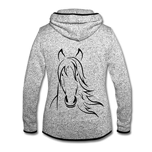 Spreadshirt Pferd Pferdekopf Zeichnung Frauen Kapuzen-Fleecejacke, M (38), Hellgrau meliert