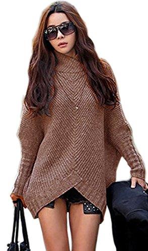 Mikos Damen Poncho Strick Pullover Jacke Cardigan Fledermausärmel Japan Style SM Schwarz Grau (423) (Braun)