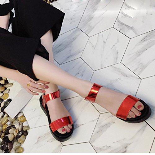 Hunpta Damenschuhe Sommer lässig flachen Fuß römischen Sandalen Flip Flops  Sandalen Schuhe Rot ...