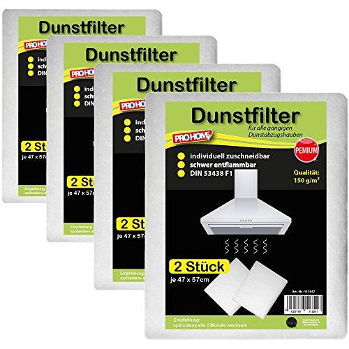 Dunstfilter 8er Pack Dunstabzugshaubenfilter Fettfilter Filter Basic Qualität 100 g/m² oder Premium Qualität 150 g/m² ( Premium Qualität 150 g/m² )