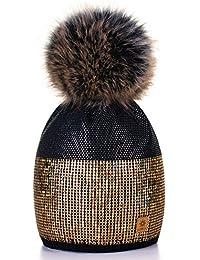 Damen Wurm Winter Style Beanie Strickmütze Mütze mit Fellbommel Bommelmütze Hat Ski Snowboard Pelz Bommel Pompon Kleine Kristalle Sequins Crystals 4sold
