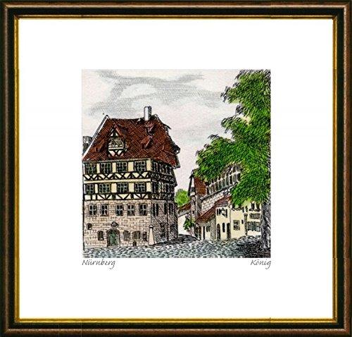 Kunstverlag Christoph Falk Handkolorierte original Radierung Nürnberg, Dürer Haus von König im Rahmen Braun-Gold, Graphik, kein Kunstdruck, kein Leinwandbild (Bilder Radierung,)