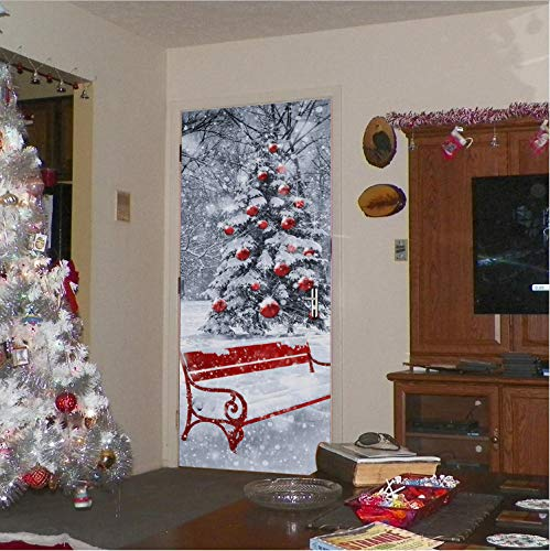 New Imitation Door Sticker Holiday Season Snow White Xmas Christmas Tree Creative Wall Door Stickers Murals WallPapers77*200 Cm (White Tree Xmas)