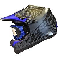 CASCO Bambini per il MOTOCROSS con Occhiali BMX ATV Nero Opaco Moto Cross - Blu - M (55-56cm) - Casco Blu