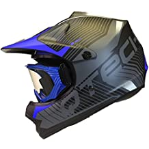 CASCO para niños y GAFAS Motocross Moto BMX Quad ATV Off Road Negro Mate - M (55-56cm) - Azul