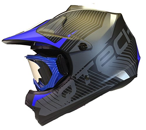 KINDER cross HELM und Schutzbrille Goggles MX BMX Quad ATV Motorradhelm Motorrad - Blau - S (53-54cm)