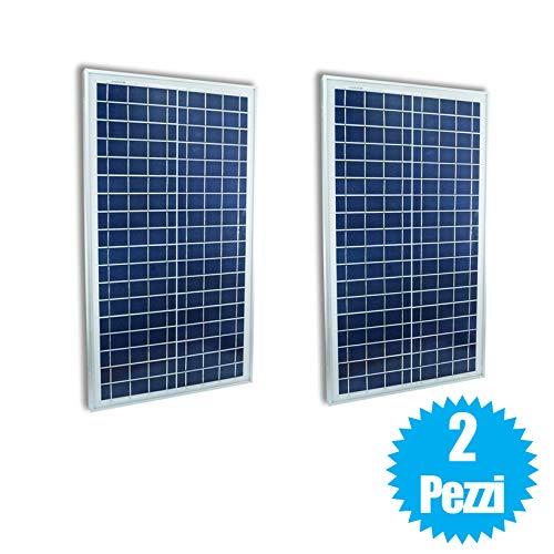 081 store - 2pz pannello solare fotovoltaico celle silicio 30 w watt 12v pinze batteria