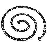 SoulCats® Halskette Königskette Panzerkette Edelstahl schwarz, Größe:5 mm, Auswahl:Kette 60 cm, Farbe:Schwarz