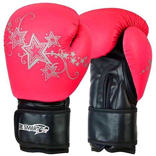 Be Smart Kids Boxhandschuhe Junior Pad 113,4g, 170,1Boxsack Kinder MMA Youth Black & Pink with Silver Stars 4 Oz (Pad Smart Junior)