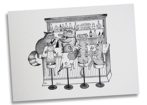 Ligarti Postkarte Tierbar - Premium Bambus Papier 350g - 100% Handmade in Deutschland - Tiere Bar Fuchs Eule Hase Katze, Postkarte, Zeichnung, Grußkarte, Deko, Geschenkkarte, Einladung