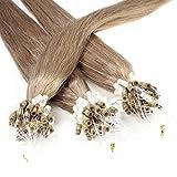 hair2heart 50 x Microring Loop Extensions aus Echthaar, 60cm, 1g Strähnen, glatt - Farbe 14 dunkelblond