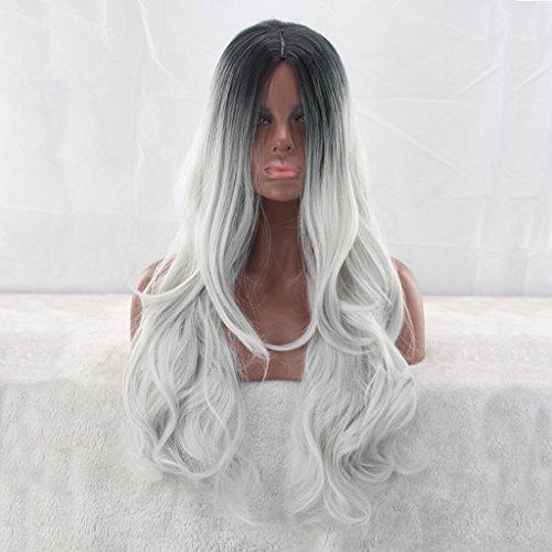 YANLIU Art und Weisedamen lange Haargradientenfarbe chemische Faserperücke Halloween / (Make Halloween Up Frauen)