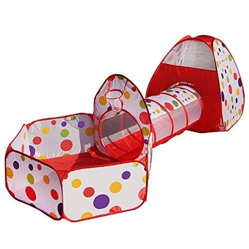 (olayer 3in 1Kinder spielen Zelten Pipeline kriechen Große Tunnel Spielzeug Haus für Kinder Outdoor Innen Yard Laufgitter Ocean Stress Ball Pool)