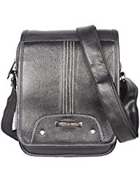 Handcuffs Genuine Black Leather Trendy Large Sling Bag Briefcase Style For Men For Daily Use (BFSLNG28)